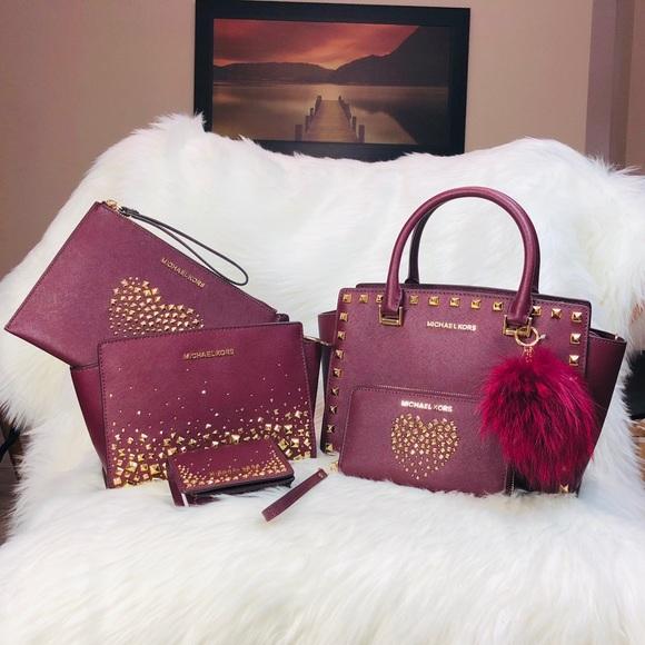 cc2814b69b24 Michael Kors Bags | 6pcs Merlot Love Studded Collection | Poshmark